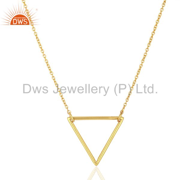 Triangle Shape Simple Wholesale Gold Plated Sterling Silver Wholesale Pendent