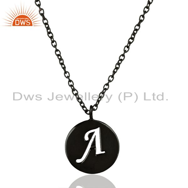 Black Oxidized 925 Sterling Silver A Alphabet Chain Pendant Jewelry