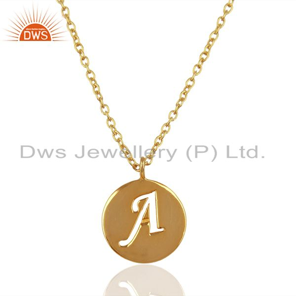 14K Yellow Gold Plated 925 Sterling Silver A Alphabet Chain Pendant Jewelry