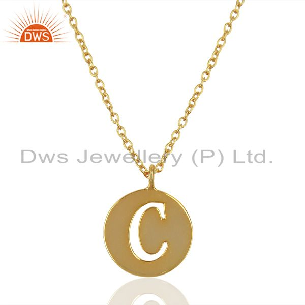 14K Yellow Gold Plated 925 Sterling Silver C Alphabet Chain Pendant Jewelry