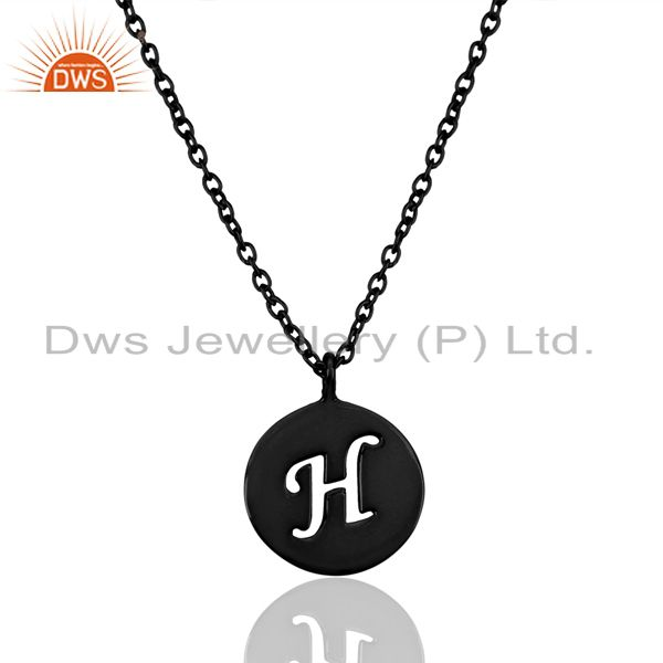Black Oxidized 925 Sterling Silver H Alphabet Chain Pendant Jewelry