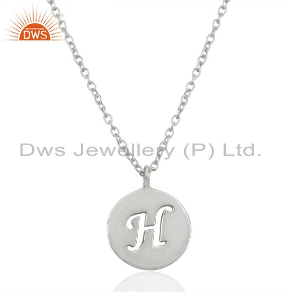 Handmade 925 sterling silver h alphabet chain link pendant jewelry