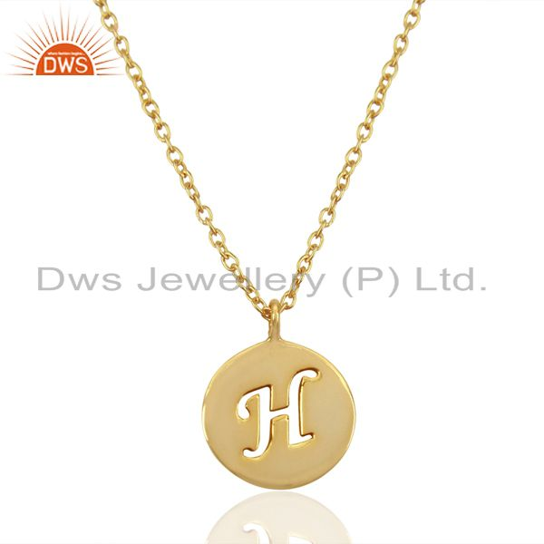 14K Yellow Gold Plated 925 Sterling Silver H Alphabet Chain Pendant Jewelry