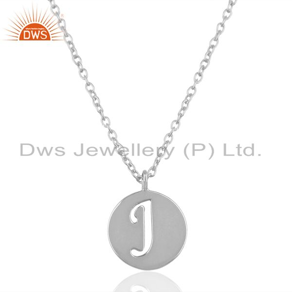 Handmade 925 Sterling Silver J Alphabet Chain Link Pendant Jewelry