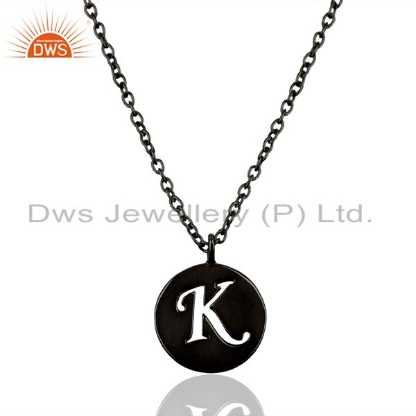 Black Oxidized 925 Sterling Silver K Alphabet Chain Pendant Jewelry