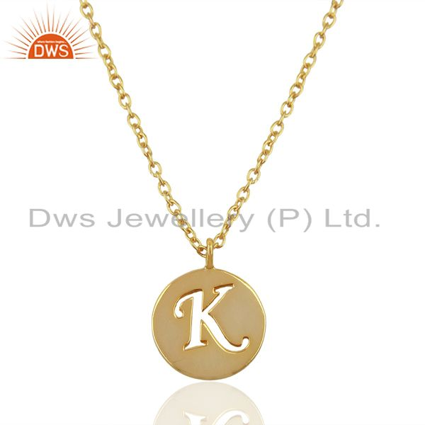 14K Yellow Gold Plated 925 Sterling Silver K Alphabet Chain Pendant Jewelry