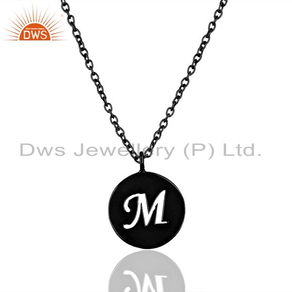 Black Oxidized 925 Sterling Silver M Alphabet Chain Pendant Jewelry