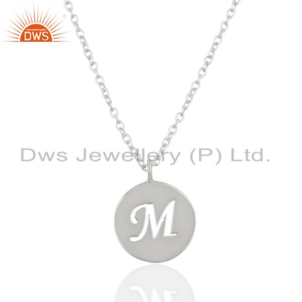 Handmade 925 Sterling Silver M Alphabet Chain Link Pendant Jewelry