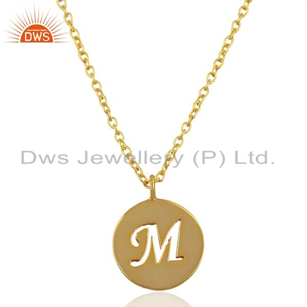 14K Yellow Gold Plated 925 Sterling Silver M Alphabet Chain Pendant Jewelry