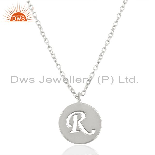 Handmade 925 sterling silver r alphabet chain link pendant jewelry