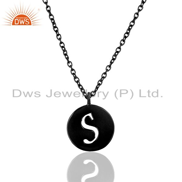 Black oxidized 925 sterling silver s alphabet chain link pendant jewelry