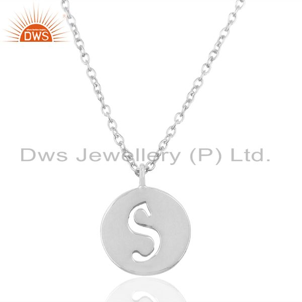 Handmade 925 Sterling Silver S Alphabet Chain Link Pendant Jewelry
