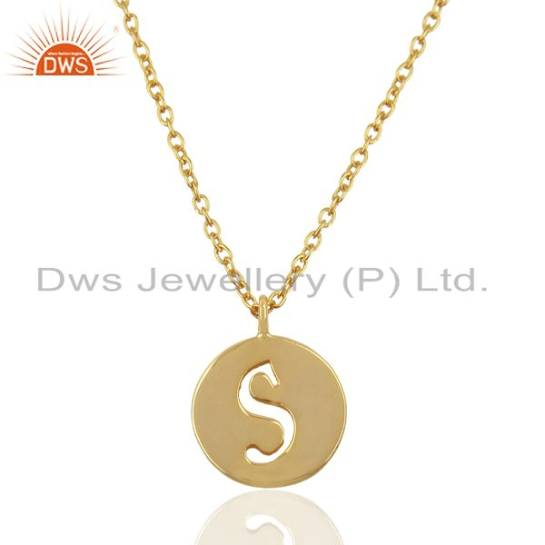 14K Yellow Gold Plated 925 Sterling Silver S Alphabet Chain Pendant Jewelry