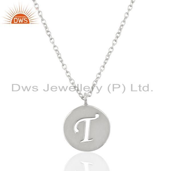 Handmade 925 Sterling Silver T Alphabet Chain Link Pendant Jewelry