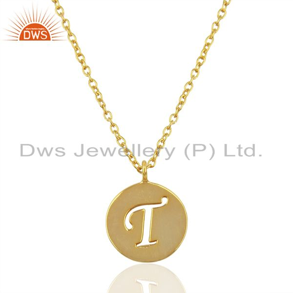 14K Yellow Gold Plated 925 Sterling Silver T Alphabet Chain Pendant Jewelry