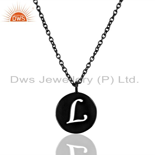 Black oxidized 925 sterling silver l alphabet chain pendant jewelry