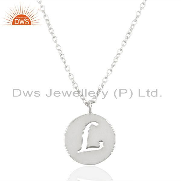 Handmade 925 Sterling Silver L Alphabet Chain Link Pendant Jewelry