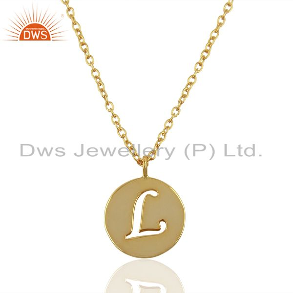 14K Yellow Gold Plated 925 Sterling Silver L Alphabet Chain Pendant Jewelry