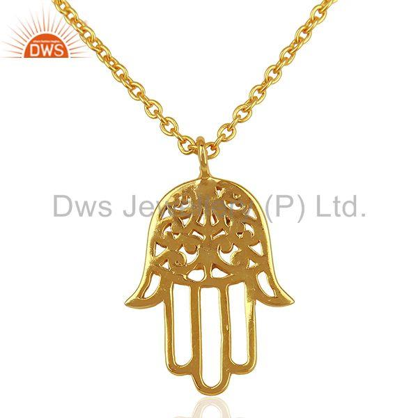 925 Silver Gold Plated Hand Hamsa Charm Pendant With Chain Wholesale