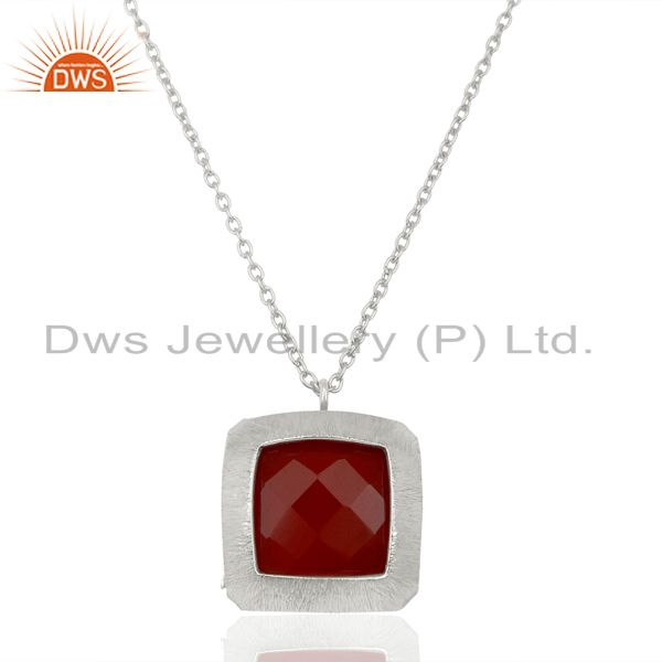 925 Sterling Silver Designer Natural Red Omnyx Gemstone Pendants
