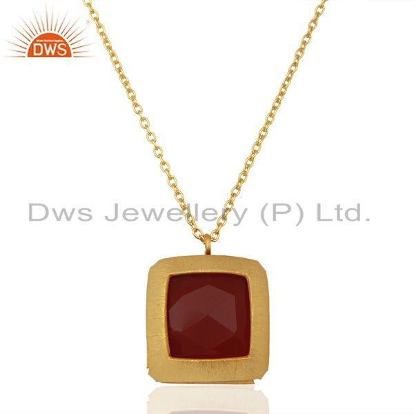 Natural red onyx gemstone gold plated silver chain pendant jewelry