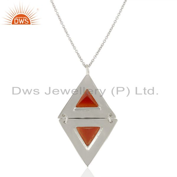 Carnelian Double Triangle 925 Sterling Silver White Rhodium Plated Chain Pendant