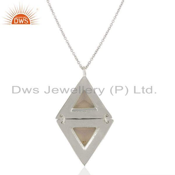 Dyed Rose Chalcedony Double Triangle Sterling Silver Pendant Gemstone Jewellery