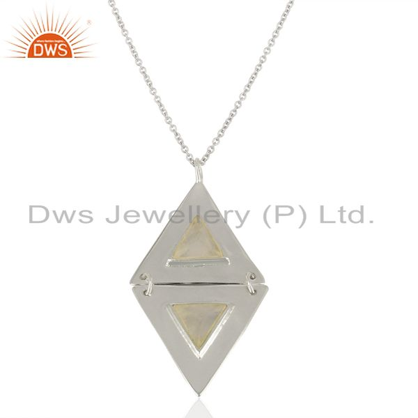 Rainbow Moon Stone Double Triangle 925 Sterling Silver Pendant And Necklace