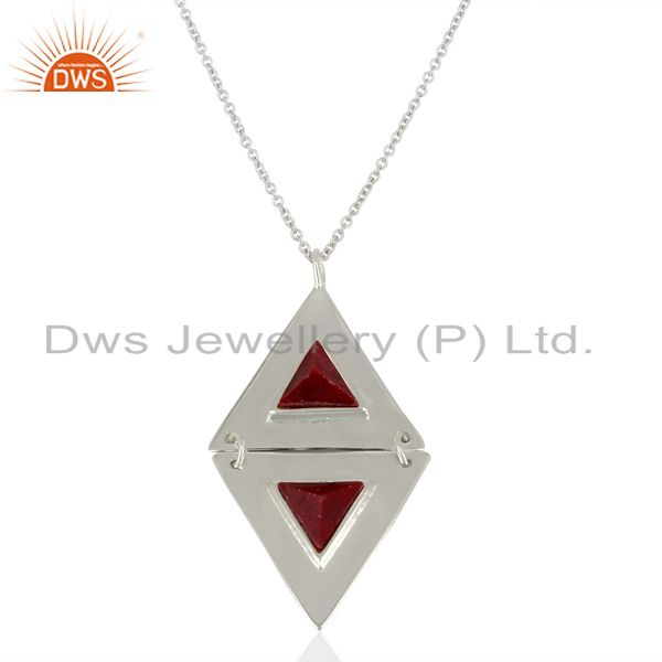 Ruby Red Corundum Gemstone  Double Triangle 925 Sterling Silver Chain Pendant