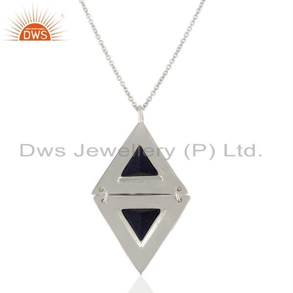 Sapphire blue corundum gemstone double triangle sterling silver chain pendant