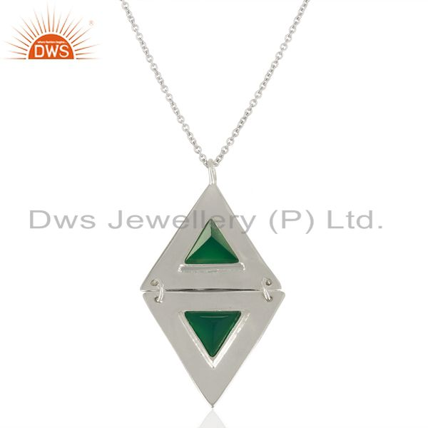 Green onyx double triangle sterling silver pendant semi precious stones jewelry