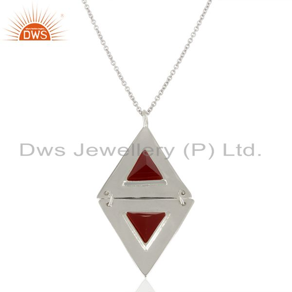 Red Onyx  Double Triangle Sterling Silver Pendant Semi Precious Stones Jewelry