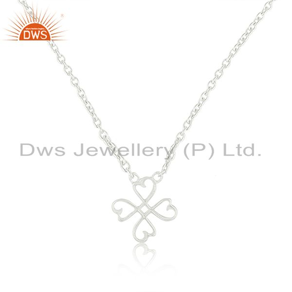 Loving Heart 92.5 Sterling Silver White Rhodium Plated Pendant Necklace