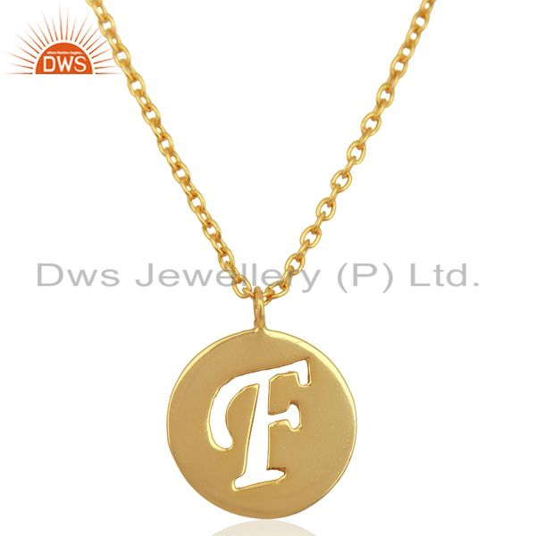 Initial F Gold Plated Girls Plain Silver Chain Pendant Manufacturer