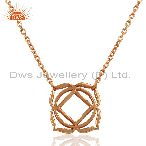 18K Rose Gold Plated 925 Sterling Silver Chain Pendant Necklace Jewelry