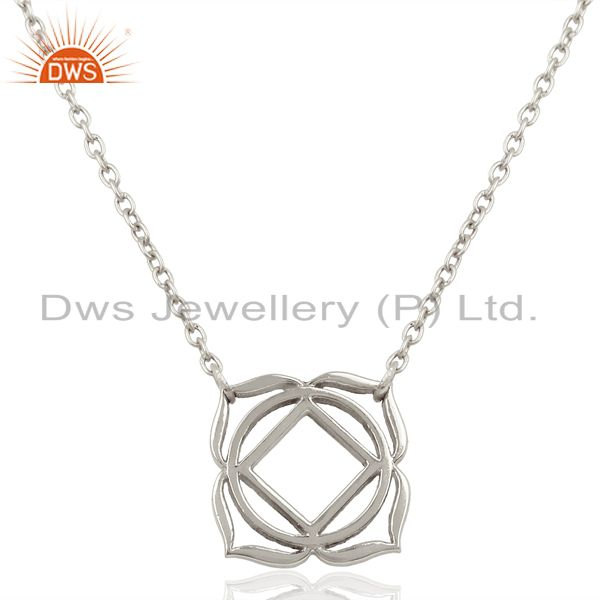 White Rhodium 925 Sterling Silver Chain Pendant Necklace Jewelry