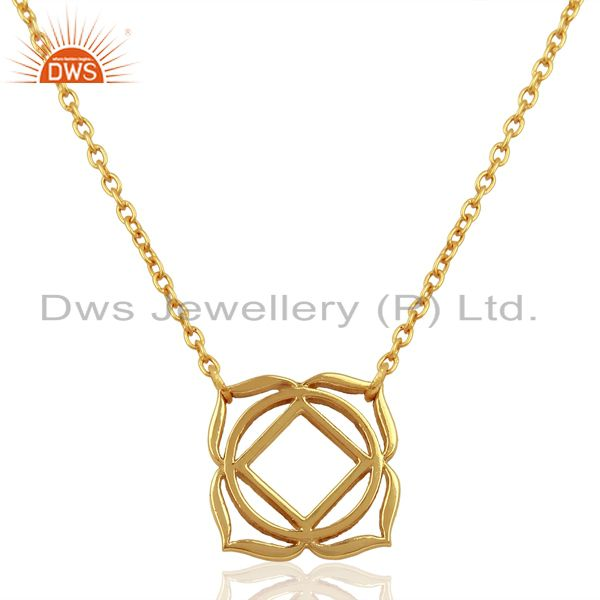 18K Yellow Gold Plated 925 Sterling Silver Chain Pendant Necklace Jewelry