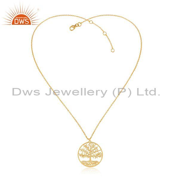 Tree of Life  92.5 Sterling Silver 18K Gold Plated Pendant and Necklace Jewelry