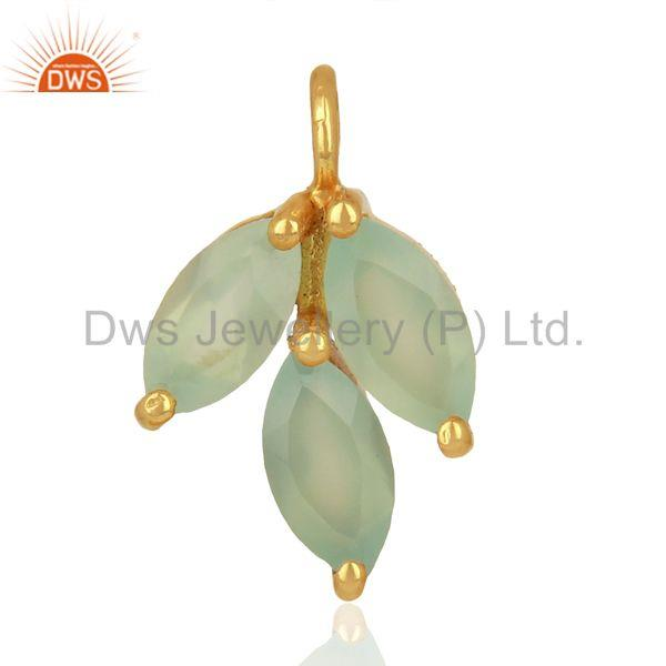 Aqua Chalcedony Gemstone Pendant Connector Jewelry Findings Supplier