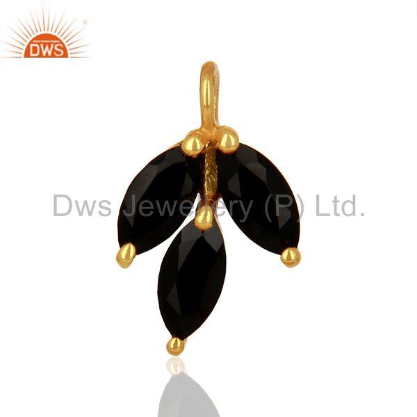 Natural Black Onyx Gemstone Gold Plated Silver Connector Findings