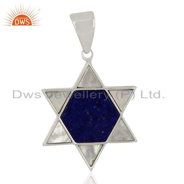 Lapis And Mother Of Pearl Designer Carved Star 92.5 Sterling Silver Pendent