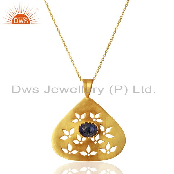 Natural Lapis Gemstone 925 Silver Gold Plated Pendant Jewelry Supplier