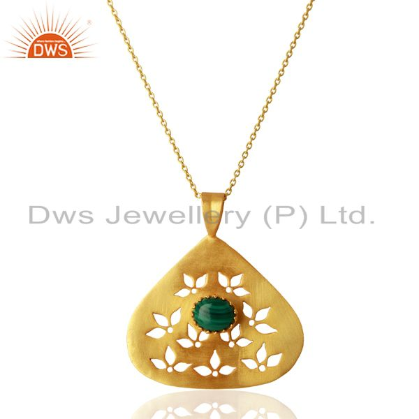 Malachite Gemstone Designer Silver Gold Plated Pendant Supplier