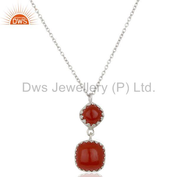 New Arrival Sterling Silver Carnelian Gemstone Chain Pendant Supplier