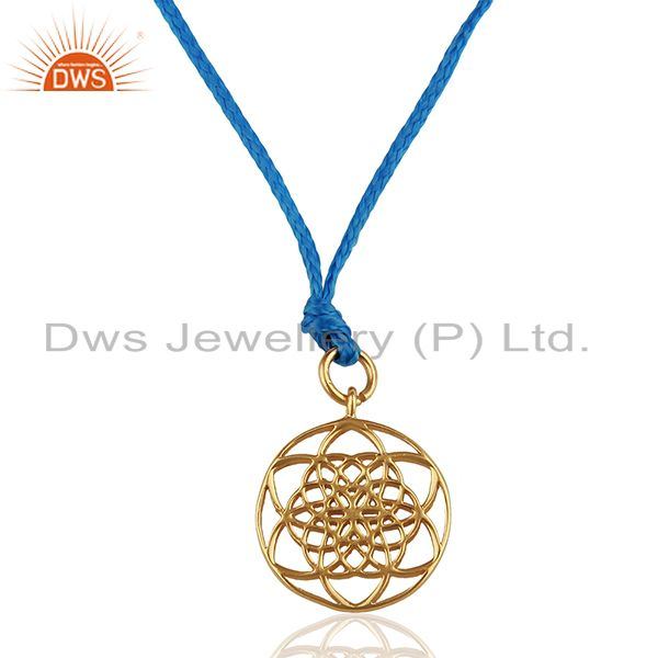 Flower Of Life 925 Sterling Silver Rose Gold Plated Blue Silk thread Pendant