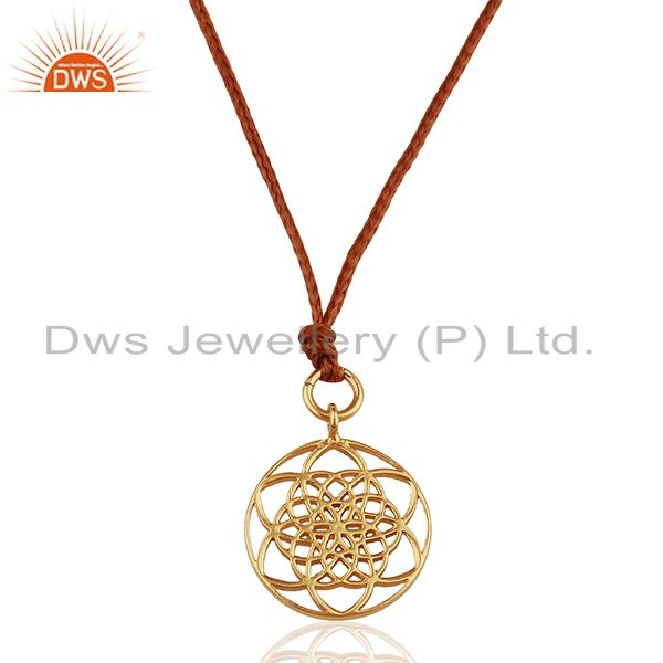 Flower Of Life 925 Sterling Silver Rose Gold Plated Brown Silk thread Pendant