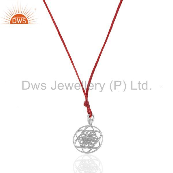 White Rhodium Sterling Plain Silver Charm Red Cord Pendant Wholesale