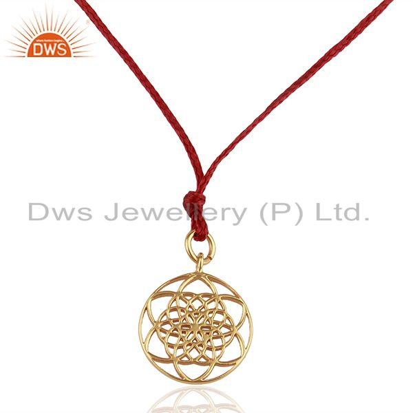 Flower Of Life 925 Sterling Silver Rose Gold Plated Darkred Silk thread Pendant