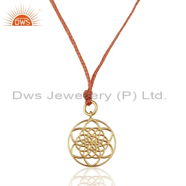 Flower Of Life 925 Sterling Silver Rose Gold Plated Orange Silk thread Pendant