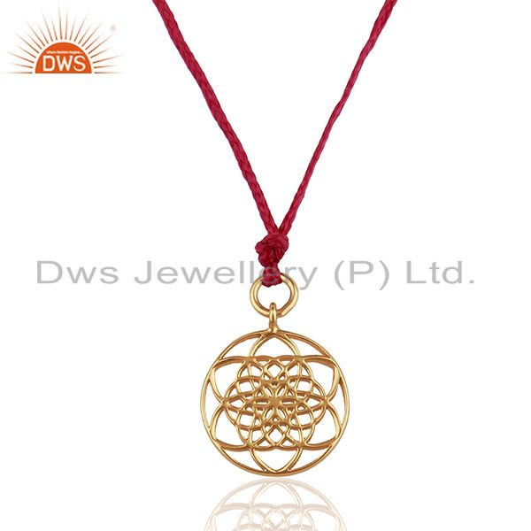 Flower Of Life 925 Sterling Silver Rose Gold Plated Pink Silk thread Pendant